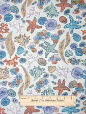 Beach Sea Starfish Sea Shell Coral Toss Cotton Fabric Windham #40002 ~ Yard