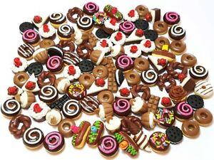100 Dollhouse Miniature Mixed Chocolate Food *Doll Mini Cake Donut Wholesale b30