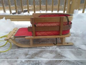 L.L.Bean Child's Wooden Pull Sled With Cushion & Tow Rope