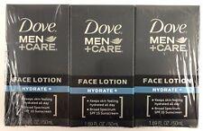 NEW Lot of three Dove Men+Care Hydrate SPF 15 Face Lotion 1.69 fl oz ea