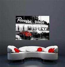 ROSIE'S DINER CLASSIC CAR NEON LIGHTS NEW GIANT WALL ART PRINT POSTER OZ580