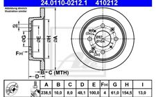 ATE Juego de 2 discos freno Trasero 238mm para HONDA CIVIC ACCORD 24.0110-0212.1