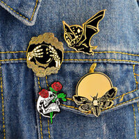 4PCS Punk Enamel Brooch Pin Bat Bee Skeleton Collar Pins Badge Corsage Brooch US
