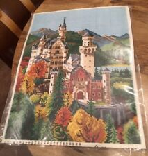 "GOBELIN NEUSCHWANSTEIN CASTLE Colored Canvas Needlepoint Kit  12"" x 16"":"