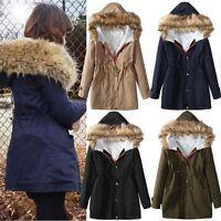 New Ladies Winter Warm Fur Collar Women's Coat Parka Fleece Trench Hooded Jacket
