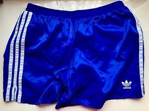 VINTAGE ADIDAS Short Pants Soccer Boxer Running Glanz Polyamid, D: 8, L, blau