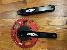 KOOKA Cranks for vintage dh mountain bike cook bros Black with a red chanring