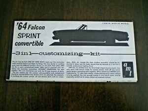 "AMT ""1964 Falcon Sprint Convertible"" Original kit Instruction sheet from 1964"