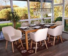 6x chaise de séjour / salle à manger Malmö T381, style rétro ~ similicuir, crème