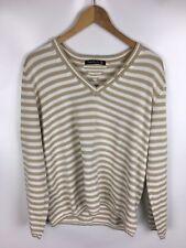 BETTY BARCLAY Pullover, braun weiß gestreift, Größe 44, Baumwolle