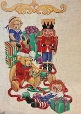 "Needlepoint Handpainted Christmas STOCKING Toys Raggedy Bears Soldier 24"" diag."