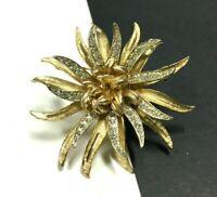 Vtg CORO Pave Rhinestone & Satin Gold PL SEA ANEMONE Flower Brooch XX151o