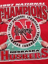 VTG. 1997 NATIONAL CHAMPION NEBRASKA HUSKERS CORNHUSKERS adult rare t-shirt L