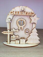 1 x 3D kit (n3) CHRISTMAS FAIRY / ELF / PIXIE DOOR WOODEN EMBELLISHMENT CRAFT