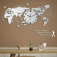 1X Unique Acrylic Wall Clock World Map Hanging Clock for Office Home Living Room