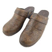 Crocs Womens Size 11 Brown Sarah Tooled Clog Triple Comfort Slip On Shoes