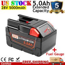 For MILWAUKEE 28V 5.0Ah M28 V28 Power Tool Battery 48-11-2830 w/LED Gauge