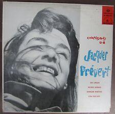 Rare Mono Record CHANSONS DE JAQUES PREVERT SELECT M298.027 33rpm, Canada