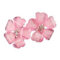 Schoene Blumen Ohrringe Ohrstecker Rosa Weiss Glas Strass Neu Farbe Silber 1003