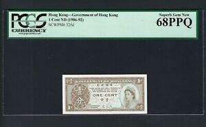 Hong Kong One Cent ND(1986-92) P325d Uncirculated Grade 68