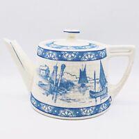 "Vtg Hand Painted Blue Cream Seaside Floral Motif Teapot & Lid 8""L 4.5""H 6""W"