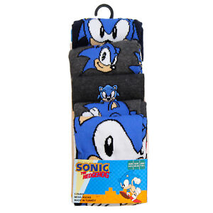 Licensed Mens SONIC THE HEDGEHOG Pack Of 5 Socks Shoe Size 9-12 Uk  Gift