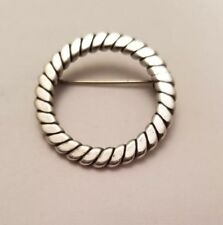 Vintage Sterling Silver Wreath Brooch Christmas Pin Braided Twist