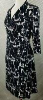 Coldwater Creek Black White Print 3/4 Sleeve Stretch Womens Wrap Dress Size 14
