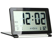 Folding Digital LCD Travel Alarm Clock Thermometer Calendar Timepiece Timekeeper