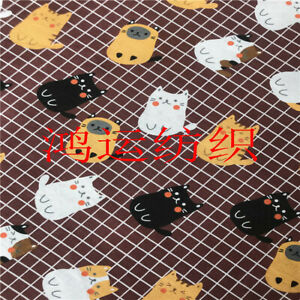 50x150cm Cotton Linen Fabric DIY Material for Home Deco Print Cats on Check B B#