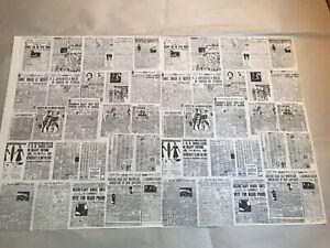 "2 Sheets  Miniature Dollhouse Wallpaper J Hermes Newspaper 1:12 11""x17"""