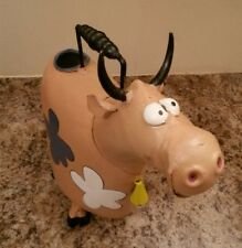 Used ~ Whimsical Painted Metal Folk Art Happy Cow Watering Can