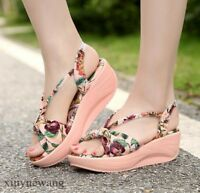 Women's Open toe Floral Platform Casual Sandals Mid Wedge Heel Slingbacks Shoes