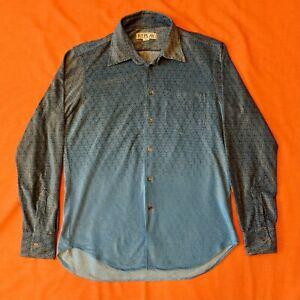 Vintage REPLAY Geometric Velour Shirt Men's Size XL