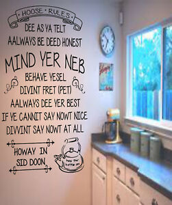Geordie Hoose Rules Funny Wall Quote Decal