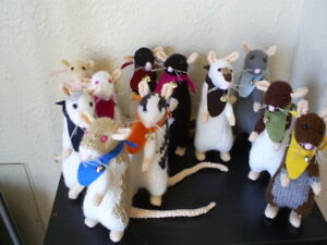 Hand Knitted***CUTE FANCY PET RATS**around 8 inches tall freestanding**Nice gift