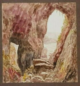 ORIGINAL WATERCOLOUR OF A GUERNSEY CAVE By C Pearson C1906 Fairy Cave?