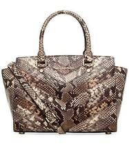 NWT MICHAEL Michael Kors Selma Python Embossed Leather Medium Satchel~MSRP $448