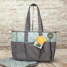 Eddie Bauer Meadowbrook Baby Diaper Bag Tote X-Large Plaid Gray/Teal