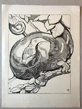 PAUL JOUVE Gravure ART DECO Serpent snake boa pithon