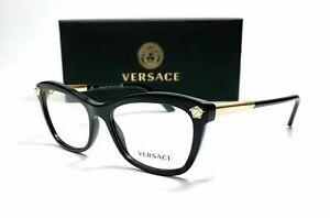 Versace VE3224 GB1 Black Demo Lens Women's Butterfly Eyeglasses Frame 54mm