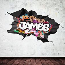 Couleur complet 3D personnalisé nom Graffiti Art Mural fêlés stickers stickers murale