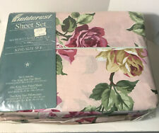 New Vintage Charisma By Fieldcrest King Sheet Set Broadway Rose Floral USA MADE