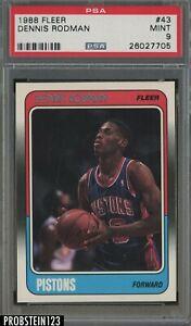1988 Fleer Basketball #43 Dennis Rodman Chicago Bulls RC Rookie HOF PSA 9 MINT