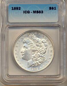 1892 Morgan Silver dollar IGC MS63
