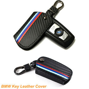 Carbon Leather Keychain Remote Fob Key Cover for BMW 1/2/3/4/5/6/7 Series