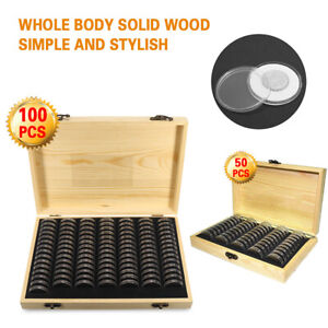 Wooden Coins Display Storage Case Box for Collectible Coin with 50/100 Capsules