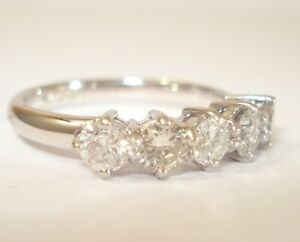 18ct White Gold 5 Diamond 1.15ct Half Hoop Ring With a £3,500.00 Valuation