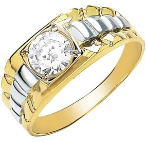 9ct Gold Mens Ring - Rolex Style, Cz, Two Colour & Fully Hallmarked Sizes R-V