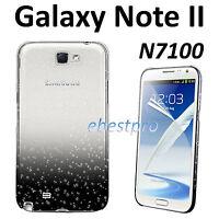 Housse Coque Etui Rigide Gouttelette Pluie Noir Samsung Galaxy Note 2 N7100 Film